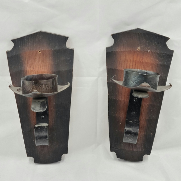 Rustic handmade wall sconce candleholders